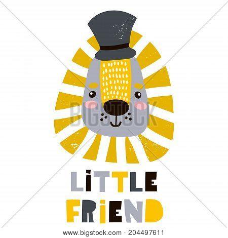 Cute cartoon leon boy in hat. Childish print for nursery kids apparelposter postcard. Vector Illustration