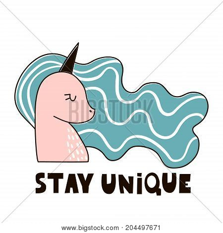 Magic unicorn childish illustration. Stay unique text with fairy pony.Vector Illustration. Perfect for baby and kids designt-shirt printsnursery decorationpostercards