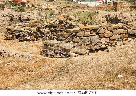 Stones in the ancient masonry. Genoese ancient fortress near the city of Sudak.