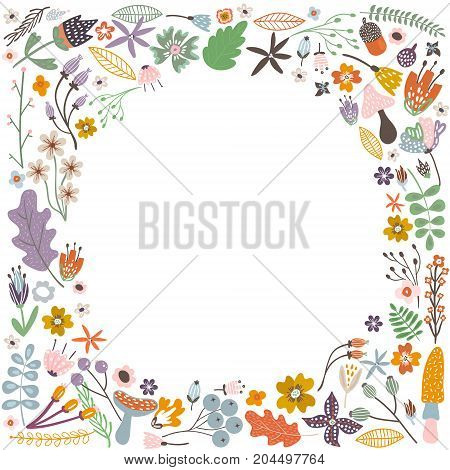 Autumn frame with flowers leaves and branches. Vector Illustration