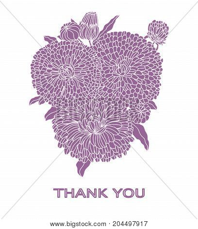 Greeting card bouquet of flowers. Vector illustration of silhouettes of flowers