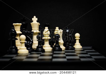 Chess (King Queen Horse Bishop and Pawn) for background or texture - Business & Strategy Concept.