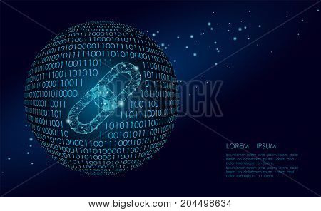 Blockchain link sign low poly. Internet technology chain icon triangle polygonal hyperlink planet Earth international community business concept. Space blue isolated wire point vector illustration art