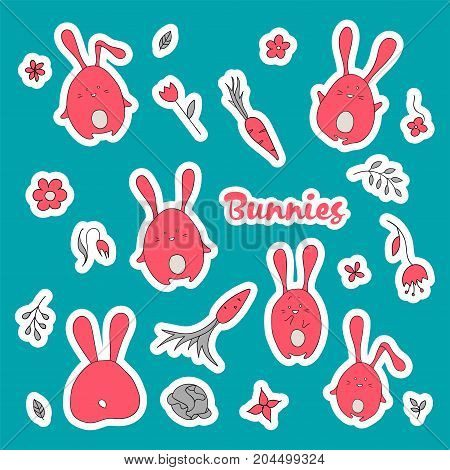 Vector rabbits stickers collection in cartoon style. Cute animals illustration. Kids hand-drawn design. Flat style