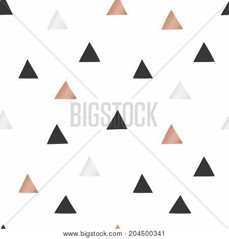 White Christmas and New Year's wrapping paper with triangles of gold and bronze foil. Seamless vector pattern.