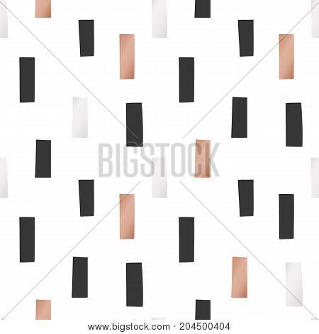 White Christmas and New Year's wrapping paper with rectangles of gold and bronze foil. Seamless vector pattern.