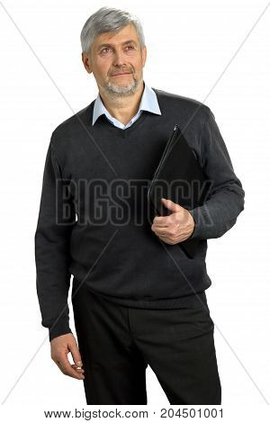 Serious mature man holding folder. Confident senior man standing with folder on white background.