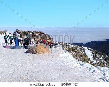 Borovets, Bulgaria - January 30, 2017: Panorama of winter mountains, ski slopes in bulgarian alpine ski resort Borovets