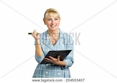 Smiling woman with paper folder. Positive mature woman with clipboard and pen isolated on white background.