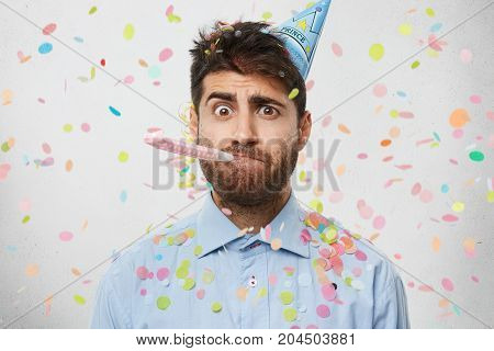 Funny Caucasian Man Blows At Party Horn, Comes To Congratulate Friend With Daughter`s Birth, Foolish
