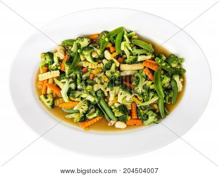 Plate Of Stir Fried Vegetables - Isolated On White. Top View
