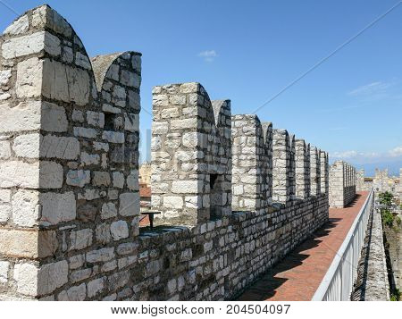 Crenellated walls of Emperor's Castle - Prato, Tuscany, Italy