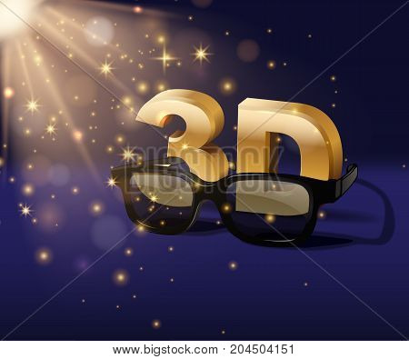 Vector cinema poster template. 3D symbol with three dimensional glasses isolated on blue magic background.