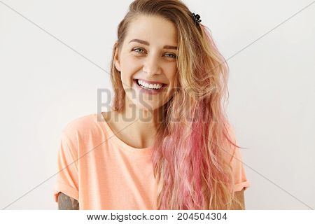 Headshot Of Gorgeous Young Caucasian Woman With Pure Skin, Beautiful Blue Eyes And Cute Smile Wearin