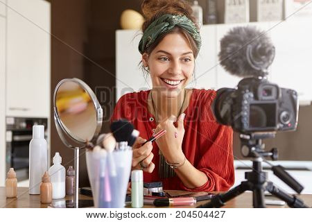 Picture Of Fashion Young European Woman Video Blogger Shooting Make Up Tutorial, Reviewing New Lipst