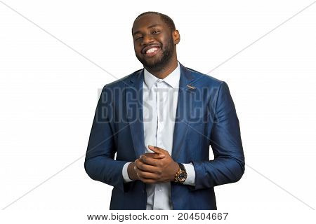 Smiling black businessman on white background. Successful serious afro american businessman with wide smile. Black man happy and smile.