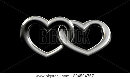 3d rendering of tow metallic heart attached to each other. isolated on a black background. valentine day