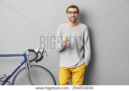 Confident Young European Male Student With Beard And Mustache Smiling Broadly Having Happy Look Wear