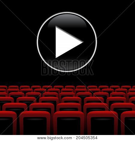 Movie theater background with red chairs and play symbol. Vector illustration.