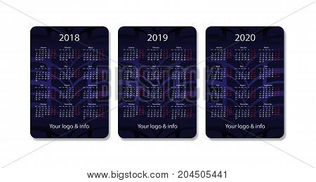 Vector pocket calendar set. 2018, 2019 and 2020 years. Blue tyre tread design template.