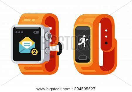Smart Watch and fitness smart gadget. Flat style vector