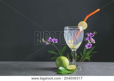 Lemonade on dark background. Lemonade with fresh lemon on table with copy space.