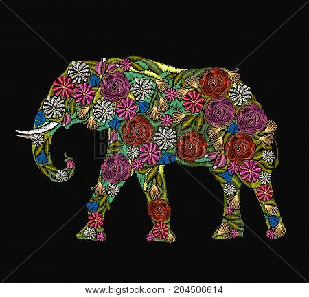 Embroidery elephant. Classical embroidery flower indian elephant. Indian ornaments animals clothes fashion t-shirt design. African ethnic elephant yoga Indian Embroidery spirituality boho art