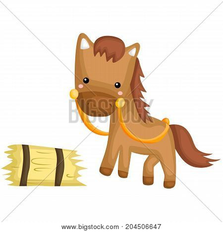 a horse ready to eat the hay