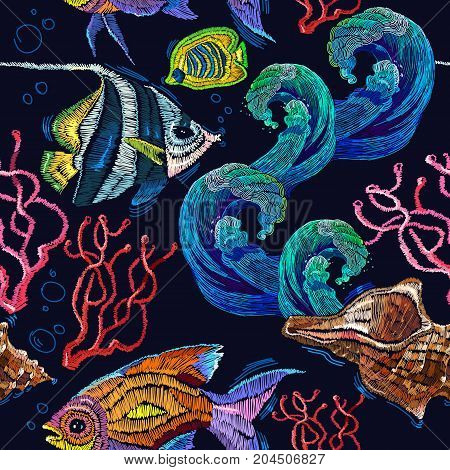 Embroidery sea life sea shells corals tropical fishes seamless pattern. Classical embroidery tropical sea wave fishes corals shells seamless fashion pattern. Fashionable clothes t-shirt design
