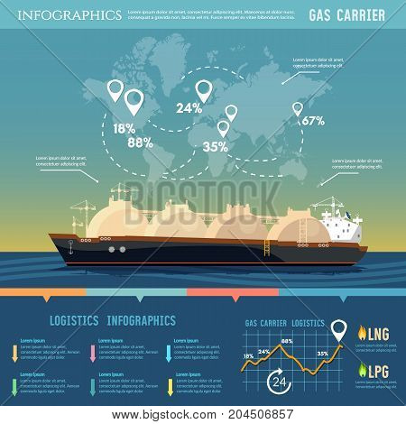 Oil and gas industry infographics. Carrier ship LNG transportation by sea. LNG tanker natural gas