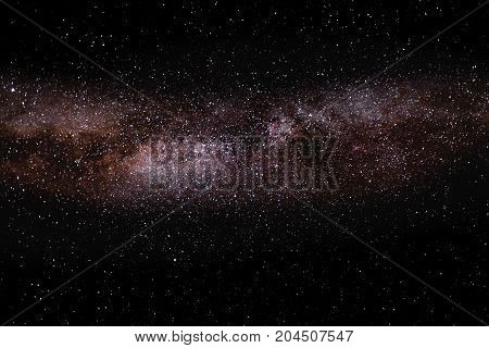 Milky way lanscape. Long exposure night astrophotography