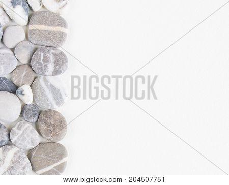Sea pebble, sea stones background. Sea pebbles frame