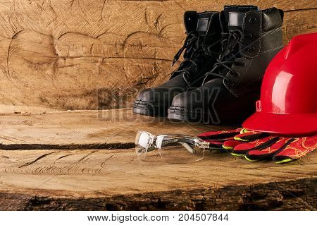 Red Hard Hat, Gloves, Protective Glasses And Safety Boots