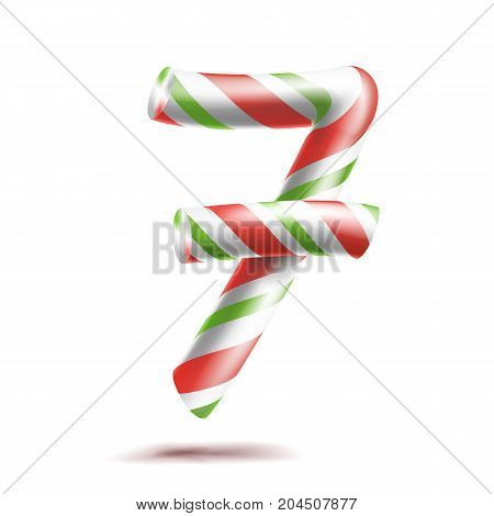 7, Number Seven Vector. 3D Number Sign. Figure 7 In Christmas Colours. Red, White, Green Striped. Classic Xmas Mint Hard Candy Cane. New Year Design. Isolated