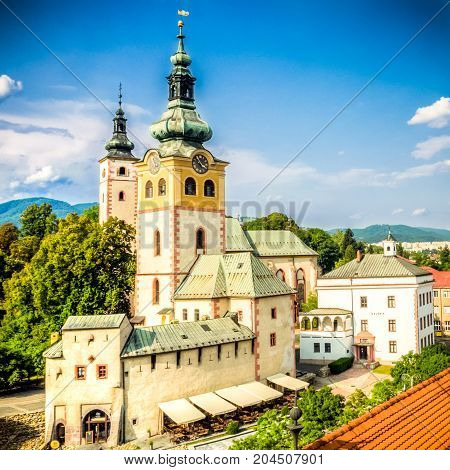 view of main square in Banska Bystrica Slovakia from above during summer day with historical fortification