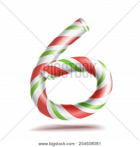 6, Number Six Vector. 3D Number Sign. Figure 6 In Christmas Colours. Red, White, Green Striped. Classic Xmas Mint Hard Candy Cane. New Year Design. Isolated