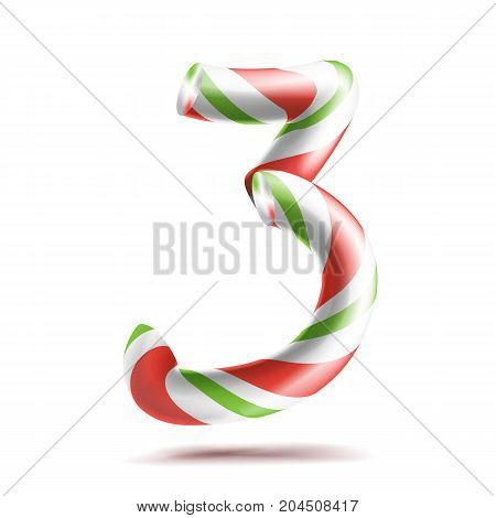 3, Number Three Vector. 3D Number Sign. Figure 3 In Christmas Colours. Red, White, Green Striped. Classic Xmas Mint Hard Candy Cane. New Year Design. Isolated
