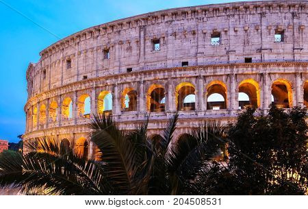 The Iconic, the legendary Coliseum of Rome at night, Italy
