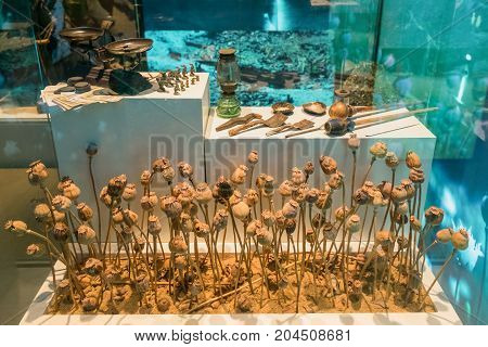 Chiang Rai Thailand - July 2 2017: The part of Hall of Inspiration is an interactive exhibition space that those most susceptible to the lure of illegal drugs to show them how opium addiction became a worldwide problem and how drug abuse affects individua