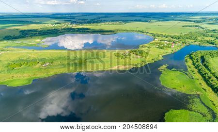A birds eye view of a ponds in summer, Russia