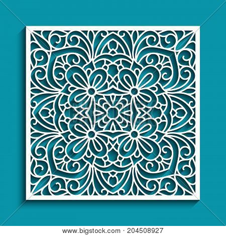 Decorative panel with lace pattern, square ornament for laser cutting or wood carving, cutout paper decorative element, elegant background for wedding invitation card