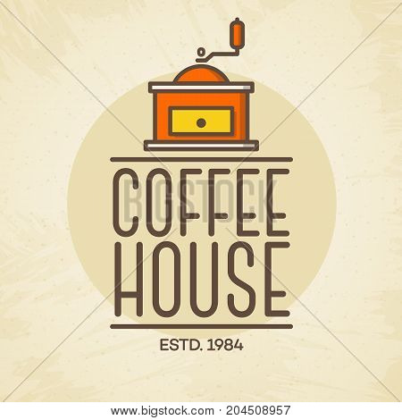 Coffee house logo with coffee machine color style isolated on background for cafe, shop. Vector design elements, logos, identity, labels, badges and other branding objects. Vector illustration.