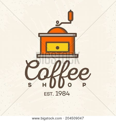 Coffee shop logo with coffee machine color style isolated on background for cafe, shop. Vector design elements, logos, identity, labels, badges and other branding objects. Vector illustration.
