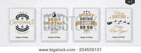 Christmas greeting card set with emblem gold style consisting sign Merry Christmas with santa and deer, christmas tree, snowflake on white snow holiday background. Vector Illustration