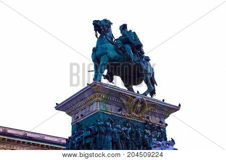 Milan, Italy - May 03, 2017: View on the National Monument to Victor Emmanuel II or Monumento Nazionale a Vittorio Emanuele II in Milan, Italy on May 03, 2017