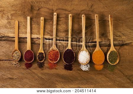 Various Herbs And Spices In Wooden Spoons