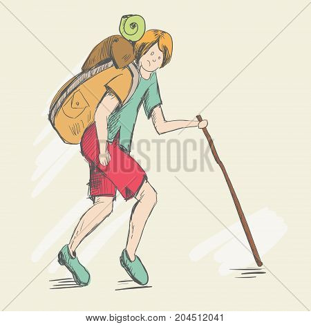 Set. Travel of a foot tourist. He is dressed of red pants and a green T-shirt. The story of the difficulties in his way. A teenager with a heavy backpack goes uphill. Man relying on a stick
