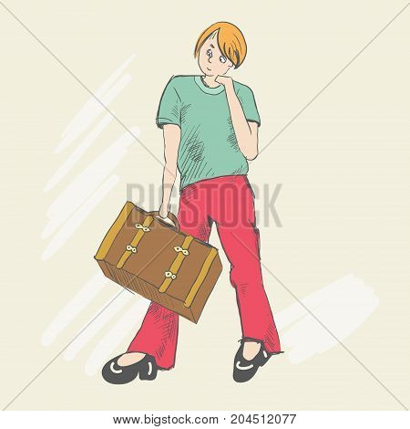 Set. Travel of a foot tourist. He is dressed of red pants and a green T-shirt. The story of the difficulties in his way. The teenager thought where to go. Young man holds a suitcase in his hands