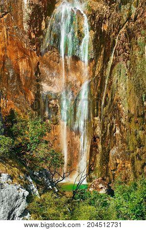 Waterfalls in Plitvice Lakes National Park Croatia
