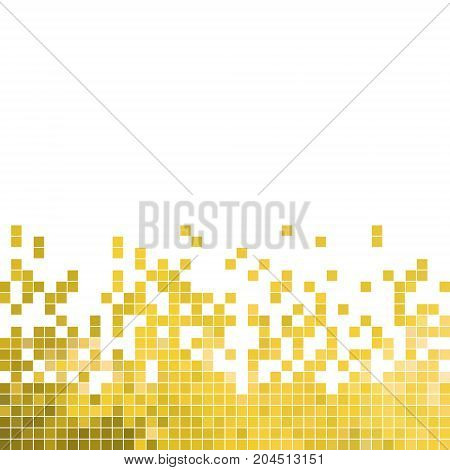 abstract vector square pixel mosaic background - yellow